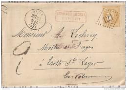 LETTRE TAXEE Affr Insuf Avec  N°43Bc Bistre Orangé LGC 121 Anzin - 1870 Bordeaux Printing