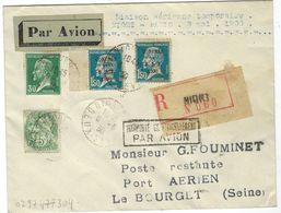 N°111 + 174 + 265, 2 Pièces Oblit Niort Sur Lettre Recommandée Avec Griffe Encadrés ( Transporté Exeptionnellement P.... - Air Post