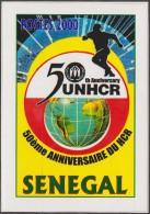 Sénégal 2001 Y&T 1626D. Épreuve-photo, Sans La Valeur Faciale. Réfugiés. Mappemonde, Logo, Personnages Fuyant - Refugees