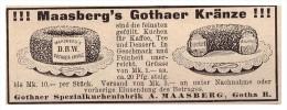 Original Werbung - 1907 - A. Maasberg In Gotha , Gothaer Kränze , Bächerei , Bäcker , Torte , Kuchen !!! - Fahrzeuge