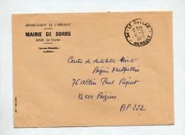 Lettre Dispense Cachet Le Caylar Entete Mairie Sorbs - Marcophilie (Lettres)