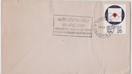 India 1978  Geological Survey Of India  125th Anniversary Cancellation Cover  Light Creased # 84183   Indien Inde - Geology