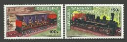 MALAGASY 1973 TRAINS RAILWAYS LOCOMOTIVES SET MNH