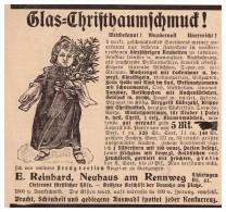Original Werbung - 1907 - Glas- Christbaumschuck , Weihnachten , E. Reinhard In Neuhauss Am Rennweg , Christbaum !!! - Decorative Items