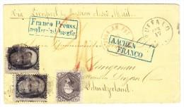 """USA Brief Buffalo 17.4.18?? Nach Langnau Schweiz Transit St. """"Aachen Franco"""" Blau Bahnstempel Basel-Olten - Lettres & Documents"""