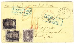 "USA Brief Buffalo 17.4.18?? Nach Langnau Schweiz Transit St. ""Aachen Franco"" Blau Bahnstempel Basel-Olten - Covers & Documents"