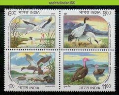 Mmf221 FAUNA VOGELS KRAANVOGEL EEND CRANE DUCK REAL ** RARE ** STORK BIRDS V�GEL AVES OISEAUX INDIA 1994 PF/MNH