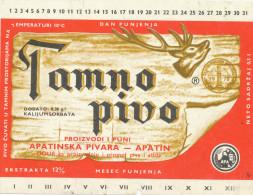 TAMNO PIVO, Apatinska Pivara, Apatin, Serbia  Old Beer Label - Sous-bocks