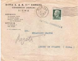CENT.25 ATTURA COMMERCIALE DITTA E.& R.FRATELLI CORSINI SIENA - Storia Postale