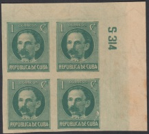 1917.122 CUBA. 1917. Ed.214As. PATRIOTAS. 1926. 1c. JOSE MARTI. NUMERO DE PLANCHA S314. PLATE NUMBER. SIN GOMA. - Kuba