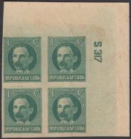 1917.124 CUBA. 1917. Ed.214As. PATRIOTAS. 1926. 1c. JOSE MARTI. NUMERO DE PLANCHA S317. PLATE NUMBER. SIN GOMA. - Kuba