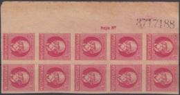 1917.129 CUBA. 1917. Ed.215As. PATRIOTAS. 1926. 2c. JOSE MARTI. BLOCK 10. NUMERO DE HOJA. SIN GOMA. - Kuba