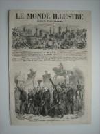 GRAVURE 1858. DEFILE DES MEDAILLES DE SAINTE-HELENE DEVANT LEURS MAJESTES IMPERIALES, A CHERBOURG. - Estampes & Gravures