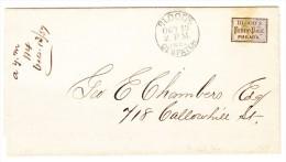 """USA 13.10.1857 BLOOD'S Dispatch """"Penny Post Philad'a"""" Bedrückter Stadtpostbrief - 1845-47 Emissions Provisionnelles"""