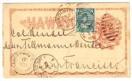 USA Hawaii 2.6.1892 Honolulu Ganzsache Mit Zusatzfrankatur Nach San Francisco - Hawaii