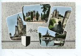 Metz Multivues : Gare Cathedrale Porte Allemands Moselle - N°57/463/121 éd La Cigogne Dentelée Blason - Metz
