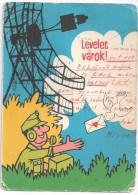 Antenne Radar Et Technicien Reçoit Une Lettre D'amour Par Une Colombe. Levelet Vàrok! Dessin De Puszlai Pàl - Saint-Valentin