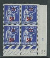 France N° 479 XX : 50 Sur 65 C. Outremer  En Bloc De 4 Coin Daté Du 5 . 8 . 38  : Sans Point Blanc  Sans Charnière,TB - Angoli Datati