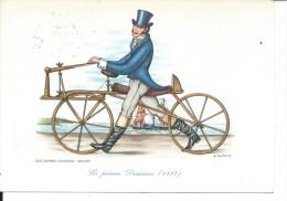 COS004 - BICICLETTA - IL VELOCIPEDE Serie 1° - LA PRIMA DRAISINA  (1817) - F.G.VIAGG 1961 - DIS. CARLOR - Cartoline