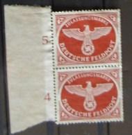 Deutsches Reich Feldpostmarken  Mi.-Nr. 2, O.G., 2x  Vom Linken Bogenrand - Officials