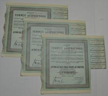 3 Titres, Sté Des Fermes Algeriennes à Bone - Afrique