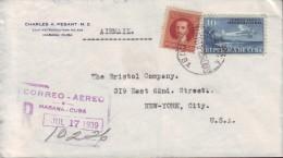 1931-H-39 CUBA. REPUBLICA. 1931. AVION AIRPLANE. 10c. 1928. CERTIFICADO AEREO DE LA HABANA A NEW YORK. US . 1933 - Cuba