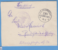 FELDPOST WW1; Briefstempel XXV. Reservekorps; Cover Only - Guerre Mondiale (Première)