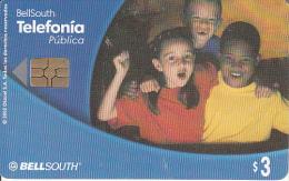 ECUADOR - 3 Boys(reverse A), BellSouth Telecard, Chip GEM3.3, Used