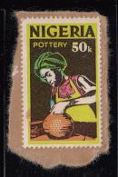 Nigeria Used Scott #305 On Piece 50k Pottery - Colour 'blotch' On Left Margin - Nigeria (1961-...)