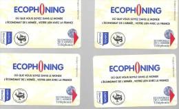 Rare, 4 Télécartes ECOPHONING, Cartes à Code SFOR ( Mostar ) Militaire De Bosnie, Utilisées,   Division Salamandre , - Cartes à Usage Militaire