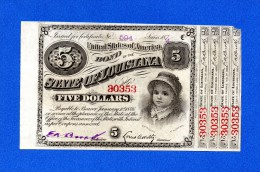 USA Louisiana 5 $ Dollars 1874 Baby Bond With 4 Coupons - Verenigde Staten