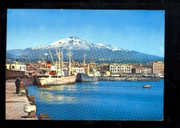 CATANIA SICILIA  : Porto E Etna  Bateau Nave Boat Cargo Ship Maritime Vessel  1966 - Catania