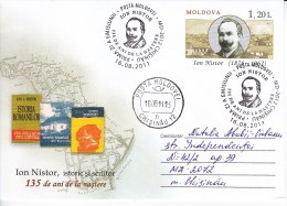 MOLDOVA   MOLDAVIE  MOLDAWIEN  2011 I.Nistor , Historical , Writer , Map , Bells , Pre-paid Envelope ,  FDC , Used. - Moldova