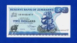 Zimbabwe 2 $ Dollars 1983 P1b Harare UNC- - Zimbabwe