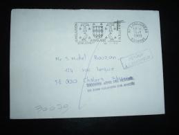 LETTRE OBL.MEC. 14-1-1988 LONGJUMEAU (91) + GRIFFE CHALONS SUR MARNE (51 MARNE) - Marcophilie (Lettres)