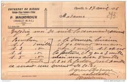 49 354 CHEMILLE ( Chemill� ) MAINE LOIRE 1936 Entrepot de bieres ( biere ) F. MAINDROUX Fabrique d' eaux gazeuses