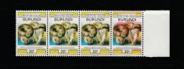 9] VERY TRES RARE: 1 bande de 4 / 1 strip of 4 ** Burundi champignon mushroom couleurs manquantes missing colours