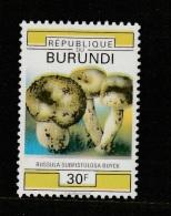 9] VERY TRES RARE: 1 timbre stamp ** Burundi champignon mushroom couleurs manquantes missing colours