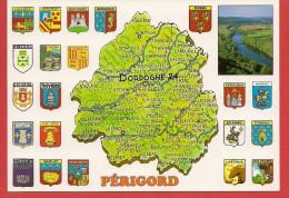 Carte Contour Géographique Du Département De La DORDOGNE - France