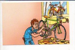 """Carte De Visite Publicitaire Vierge  """" Réparateur 2 Roues,motos,vélomoteurs,bicyclette./  Dessin De """"Brument"""" Signé Yvan - Cartes De Visite"""