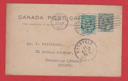 CANADA   //   Entier Postal  //  De Toronto   //  Pour Montrouge  //   9 Mars 1911 - 1903-1954 Rois