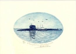 """VP144/15- Petite Eau-forte Numérotée Pour Le Sous-marin """"Le Triomphant"""" En Rade De Brest (19 Cm X 14 Cm) - Bateaux"""