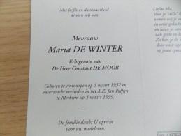 Doodsprentje Maria De Winter Antwerpen 3/3/1932 Merksem 5/3/1999 ( Constant De Moor ) - Religione & Esoterismo