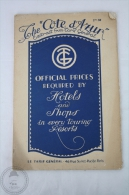 Old 1922 Tourism Brochure Of The Cote D´Azur - Extract From Tarif General - Images & 2 Pages Map - Folletos Turísticos