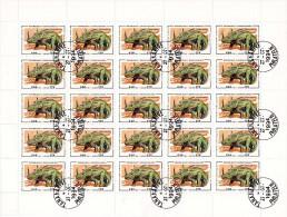 Madagascar 1994 : Feuille de 25 timbres oblit�r�es N� 1342. Animaux Pr�historiques.