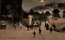 50 CHERBOURG LA GARE ET LA MONTAGNE DU ROULE ANIMEE ATTELAGES FIACRE CIRCULEE 1909 - Cherbourg