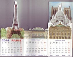 Calendrier Paris Monuments 2014 Tour Eiffel Orsay Opéra Louvre Sacré-coeur Centre Pompidou Notre-Dame Arc Triomphe Etc. - Calendriers