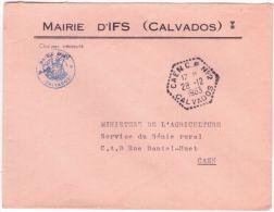 1963- Enveloppe De Mairie D´IFS En Franchise Oblit. CAEN C.P. N°2 /  CALVADOS - Postmark Collection (Covers)