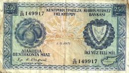 CYPRUS 250 MIL BLUE FRUIT EMBLEM FRONT LANDSCAPE BACK  DATED 01-03-1971 P41b F+ READ DESCRIPTION !! - Chypre