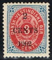 1902. Surcharge. Local, Black Surcharge. 2 CENTS 1902 On 3 C. Blue/red. Inverted Frame.... (Michel: 23 AII) - JF153355 - Dänisch-Westindien